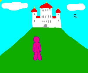 pink guy near castle