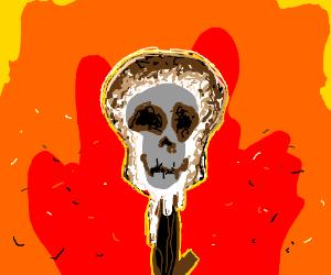 Roasted marshmallow has skull face