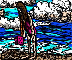 Girl in pink die at the beach