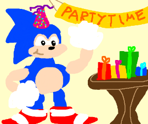 fat sonic at a party