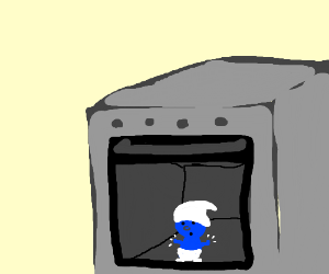 smurf trapped in oven looks out oven window