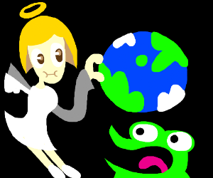 an angel thing pinches earth. laugh frog watches