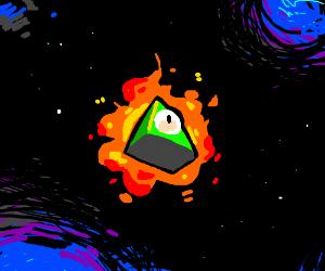 Burning Illumnati pyramid in space