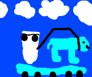 sock w/ sunglasses holds blue dog ontrampoline