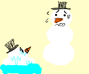 snowman watches as his friend melts
