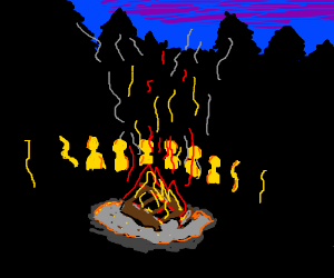 A camp with a nice and peaceful fire