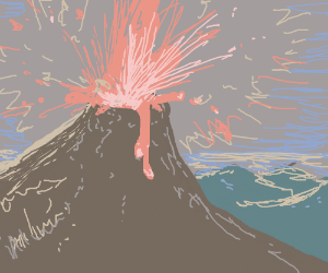 Valcano erupting (from the top)