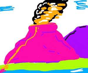 The volcano erupts