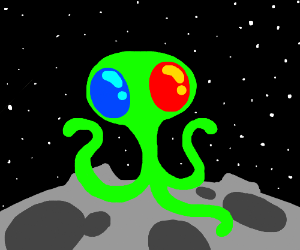 Alien with one blue and one red eye.
