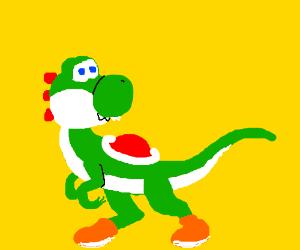 Yoshi as a velociraptor
