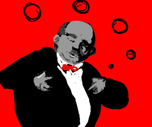 Fat man in suit spitting bubbles