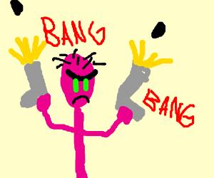 Pink Guy shoots up columbine