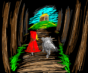 little redriding hood and wolf in scary forest