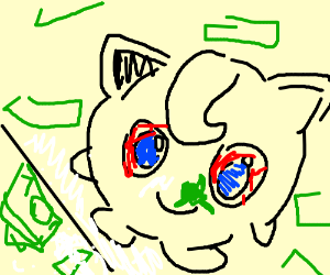 Jigglypuff snorting coke with money