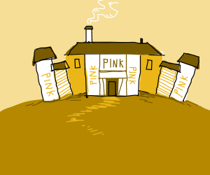 Pink house on a hill