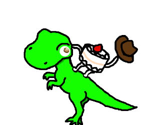 a cake man cowgirl styling a trex