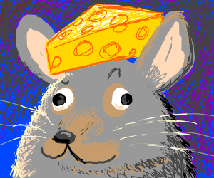 Derp mouse with cheese on head