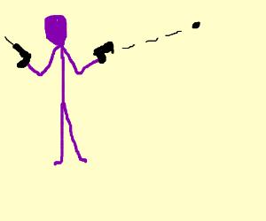 Purple stick figure shooting 2 pistols.