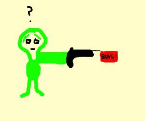 Alien firing a gun (bullet gun, not laser gun)