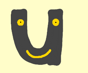 A 'U' with yellow eyes in it