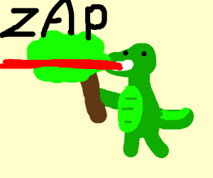 Godzilla holding a tree firing a mouth laser