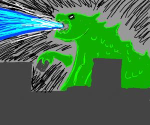 Giant lizard shooting laser. Godzilla maybe?