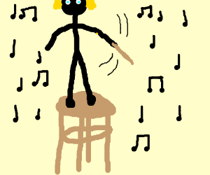 A child standing on a stool conducting music