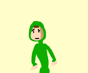 heartbroken man in a green costume