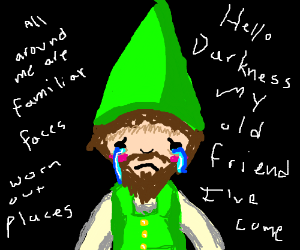 green sad gnome