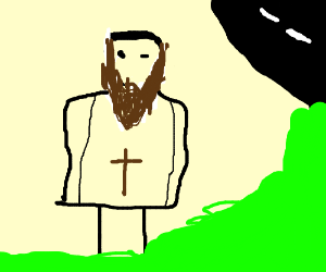 Jesus walking through bushes onto a road