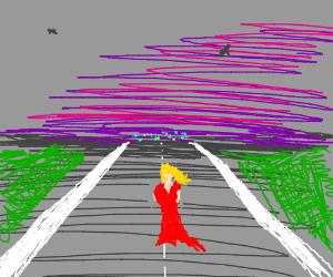 Lady on runway