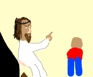 Jesus and boy blame eachother for pooping.