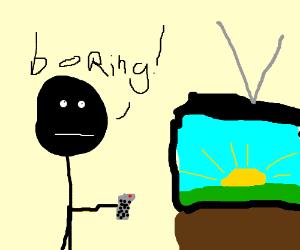 Dude watching something boring