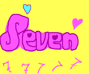 "Girly graffiti of the word "" Seven """