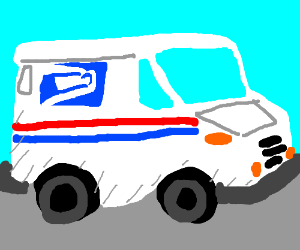 an extremely detailed mail truck