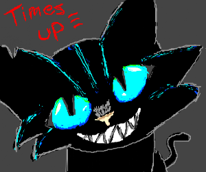 """You are out of time"" Black cat with blue eyes"
