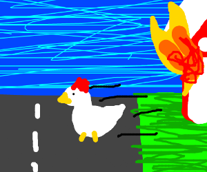 chicken burned barn escaped by crossing road