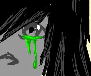 Eye cries green liquid