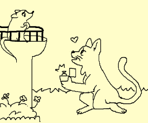 Cat proposes to mouse on balcony,forbidden luv