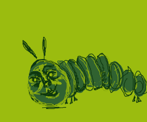 The Hungry Caterpillar with a realistic face