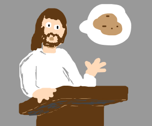 Jesus preaches to the crowd about potatoes
