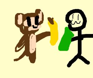 Proboscis Monkey buys banana