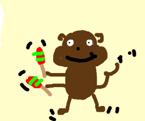 Dancing monkey with maracas