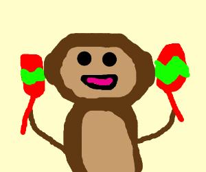 Monkey plays Maracas