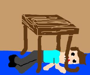 lie on the floor & eat a table