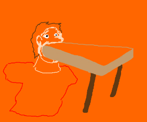 Guy eating a table