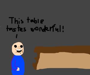 Man Devours Table