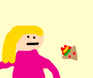 girl looking at a angry sandwich