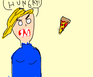 a blonde woman eats pizza viciously