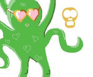 Octopus with glasses loves skull.